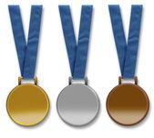 Three blank winners medals — Stock Photo