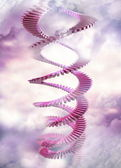 Spiral stairway in the clouds — Stock Photo