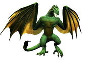 Dragon like creature with wings spread — Stock Photo