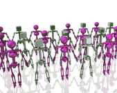 Robots holding hands — Stock Photo