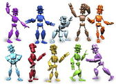 Multi colored robots in various poses — Stock Photo