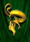 Golden dragon on green cloth background — Stock Photo