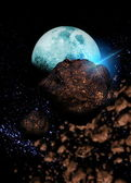 Meteors passing the orbit of the moon — Stock Photo