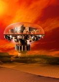 A futuristic domed city — Stock Photo