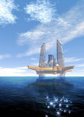 Futuristic oil rig — Stock Photo