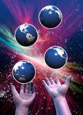 Multiple Earths been juggled — Stock Photo