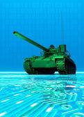 Virtual tank protecting computer data — Stock Photo