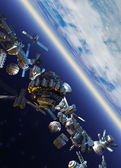 Space junk orbiting earth — Stockfoto