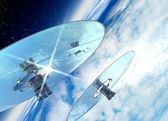 Space mirrors in earth orbit — Stock Photo