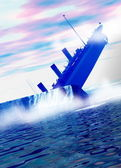 Titanic ship sinking behind large iceberg in deep water. — Stock Photo