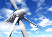 Wind turbine and blue sky with clouds — Stock Photo