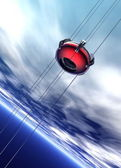 Space elevator rising into clouds — Stock Photo