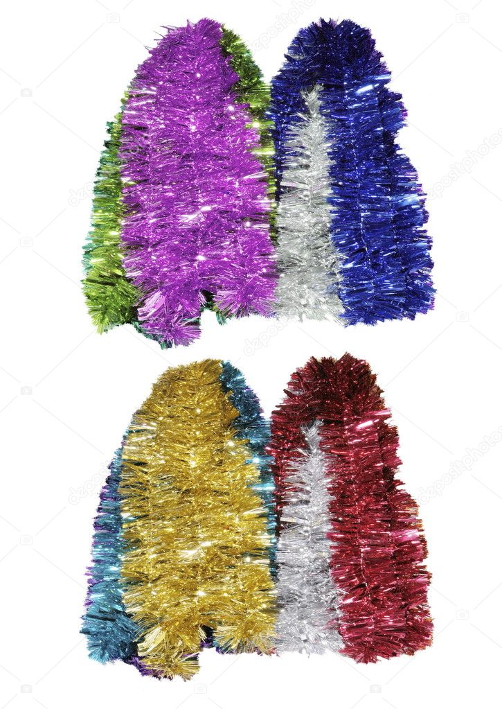 Bright Christmas tinsel bunches against isolated white background — Stok fotoğraf #10254863