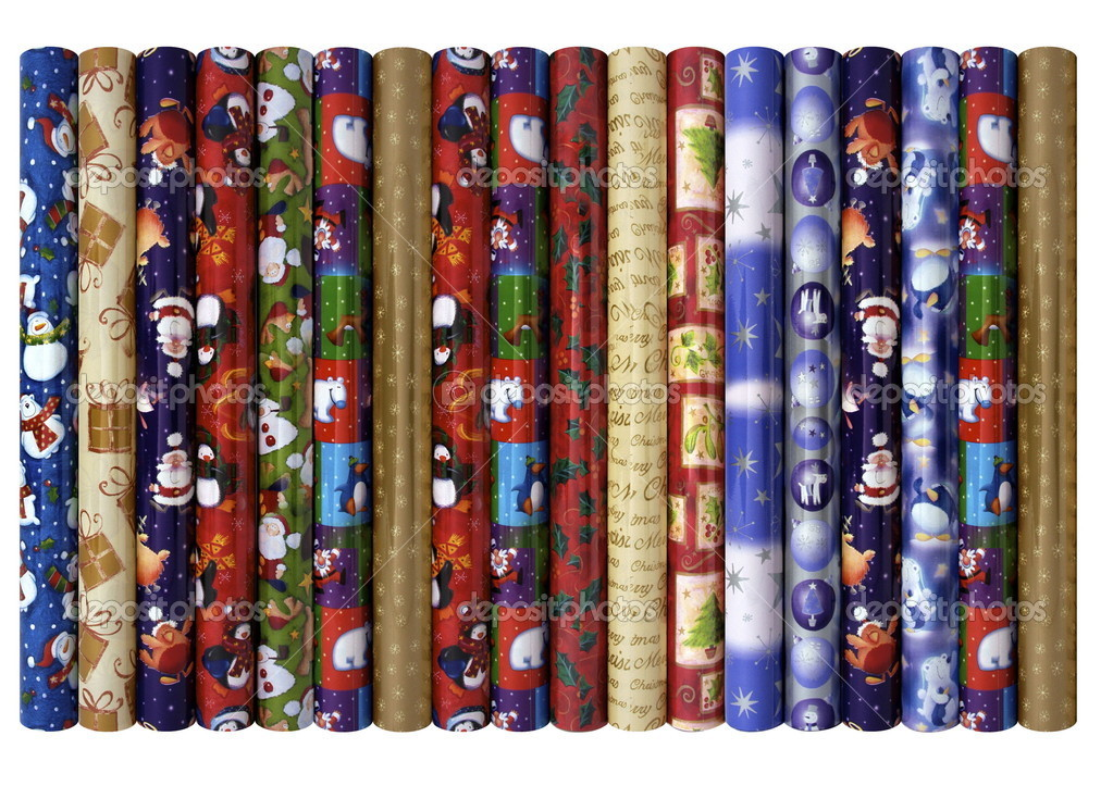 Decorative christmas wrapping paper rolls on isolated white background — Stock Photo #10255077