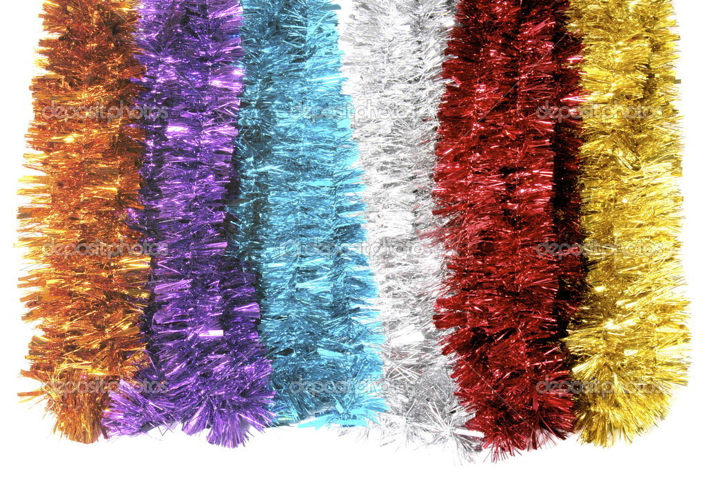 Bright Christmas tinsel bunches against isolated white background — Stock Photo #10255092