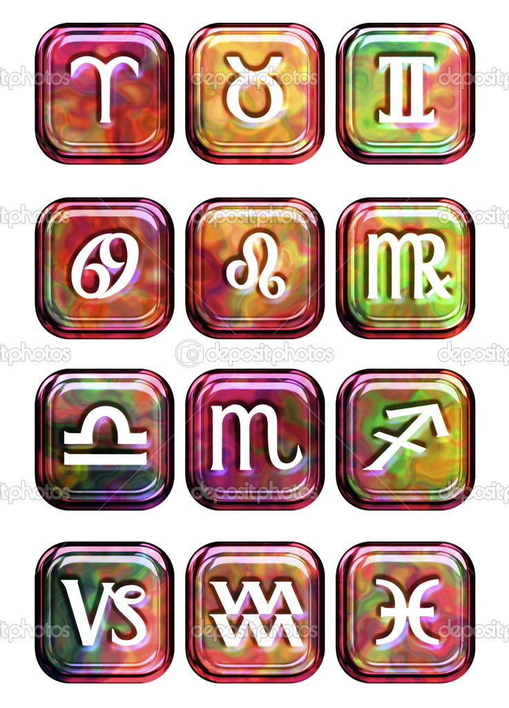 A selection of glossy looking astrology sign buttons. Isolated on a white background  Stock Photo #10255860