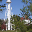 Rawley Point Lighthouse by Lake Michigan - 图库照片
