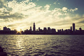 Winter sun setting over the skyline of Chicago — Stock Photo