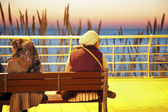 Two women seating on the bench - Corniche in Beirut — Stock Photo