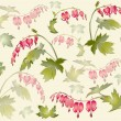 "Seamless background from a flowers ornament, fashionable modern wallpaper or textile. Illustration ""bleeding heart"" (Dicentra spectabilis). — Stock Vector #10525654"