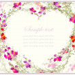 Beautiful decorative card with flowers. Decorative heart. Hand drawn valentines day greeting card. — Stock vektor