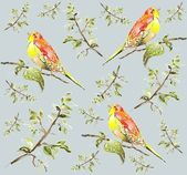 Seamless background. Illustration of birds. — Vector de stock
