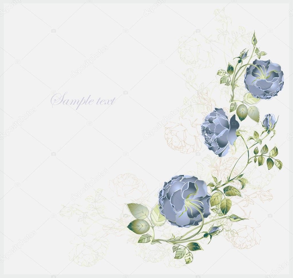 Greeting card with rose. Illustration  roses. Beautiful decorative framework with flowers. — Stock Vector #10535890