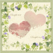 Vintage greeting card with wild ivy and hearts. - Stok Vektör
