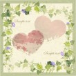 Vintage greeting card with wild ivy and hearts. — Stock Vector