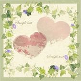 Vintage greeting card with wild ivy and hearts. — Stok Vektör