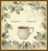 Vector elegant coffee themed background illustration . Illustration of a coffee tree.Menu. — Stok Vektör