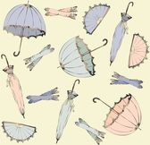 Illustration of vintage umbrella, fan, glove. Seamless background fashionable modern wallpaper or textile. — Stok Vektör
