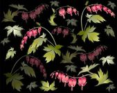 "Seamless background from a flowers ornament, fashionable modern wallpaper or textile. Illustration ""bleeding heart"" (Dicentra spectabilis). — Stok Vektör"