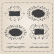 Set of calligraphy frames and brushes — Stock Vector