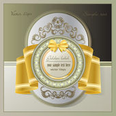 Gold label in vintage style — Stock Vector
