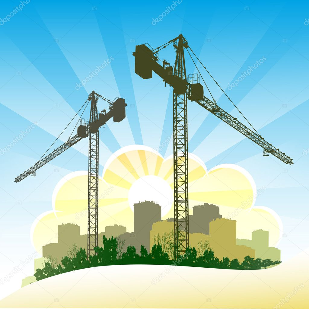 Silhouettes of cranes on the blue sky background  Stock Vector #9623196