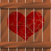 Heart on a Wooden Fence — Vector de stock