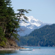 Boat near Echo island, Sasquatch Provincial Park, British Columbia — Stock Photo #10006822