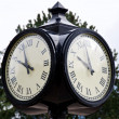 Foto Stock: Street clock at Harrison lake resort, reminding owl face