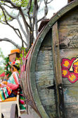 Old wooden barrel in Old village, San Diego — Stock Photo