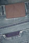 Пустой кожа этикетка на Голубой Джинс — Стоковое фото