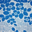 Fabric texture with blue flowers - Stock Photo