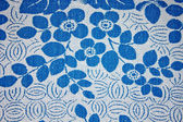 Fabric texture with blue flowers — Stok fotoğraf