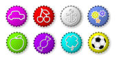 Color bottle caps with figures — Stock Vector