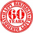 Grunge 60 years happy birthday rubber stamp, vector illustration — Stock Vector