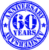 Grunge 60 years anniversary rubber stamp, vector illustration — Stock Vector