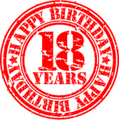 Grunge sweet 16 years happy birthday rubber stamp, vector illustration — Stock Vector