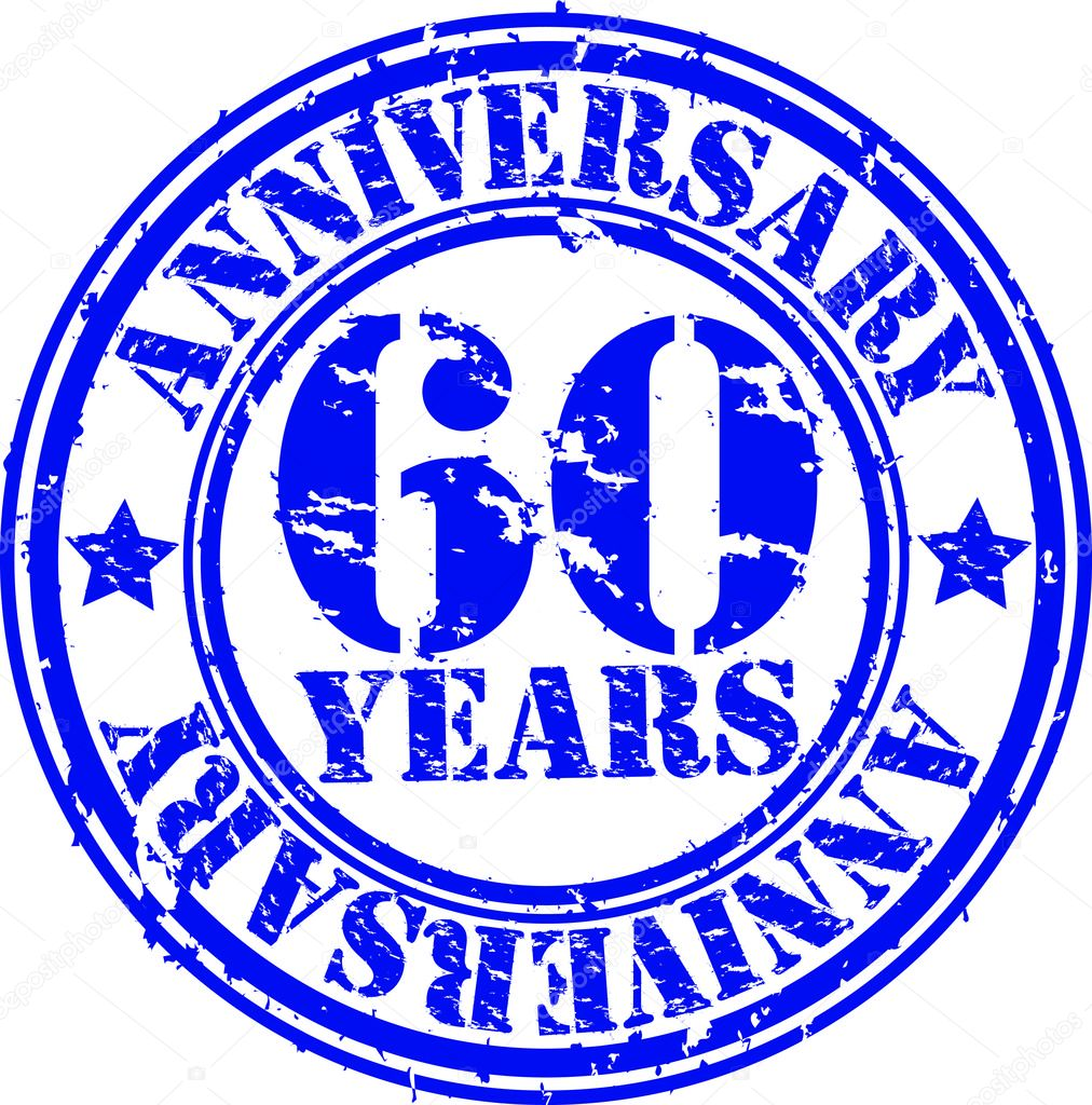 Grunge 60 years anniversary rubber stamp, vector illustration — Stock Vector #10579860