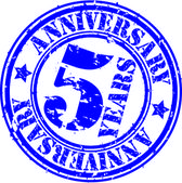 Grunge 5 years anniversary rubber stamp, vector illustration — Stock Vector