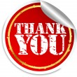 Stock Vector: Thank you sticker, vector illustration